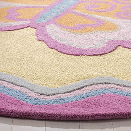 Safavieh Safavieh Kids Collection SFK394A Handmade Multi and Pink Cotton Round Area Rug 6 Diameter