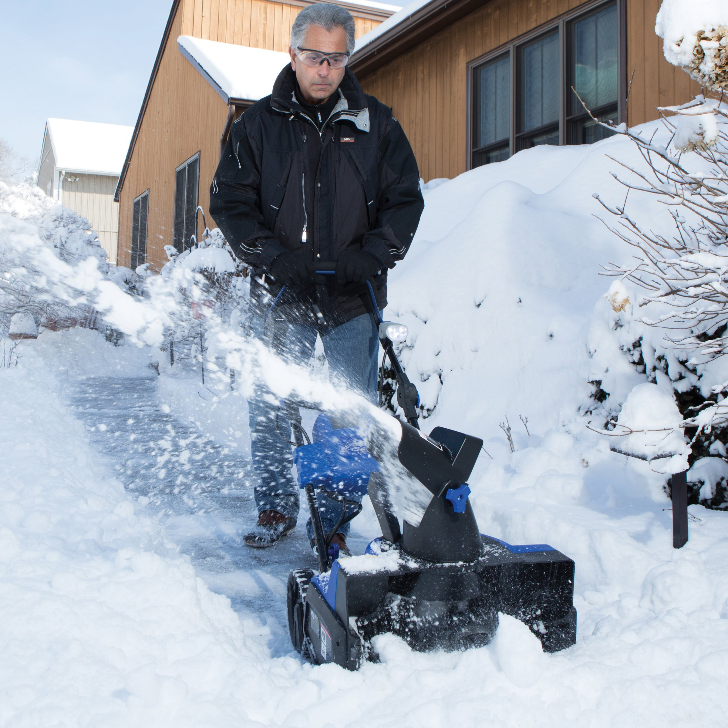 Snow Glo Cordless Electric Powered Snow Blower Machine With 18-Inch Wide Clearing Path and Adjustable Handle 180 Degree Auto-Rotate Chute
