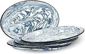 Red Co. Enamelware Metal Classic 13 inch Serving Oval Tray Platter, Navy Blue/Black Rim - Swirl Design - Set of 4