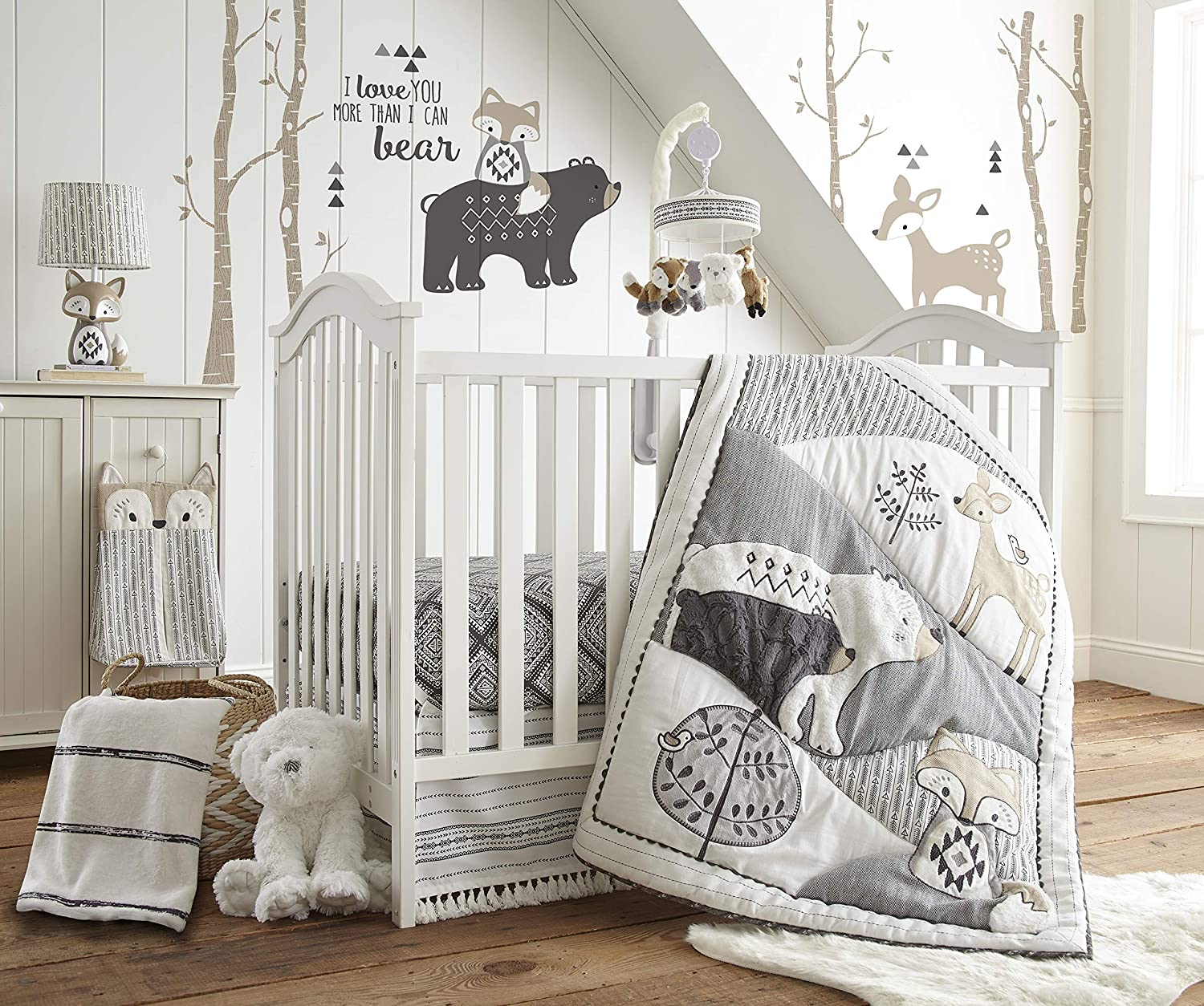Levtex Baby Bailey Charcoal and White Woodland Themed 5 Piece Crib Bedding Set, Quilt, 100 Cotton Crib Fitted Sheet, Dust Ruffle, Diaper Stacker and Large Wall Decals