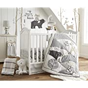 Levtex Baby Bailey Charcoal and White Woodland Themed 5 Piece Crib Bedding Set, Quilt, 100% Cotton Crib Fitted Sheet, Dust Ruffle, Diaper Stacker and Large Wall Decals