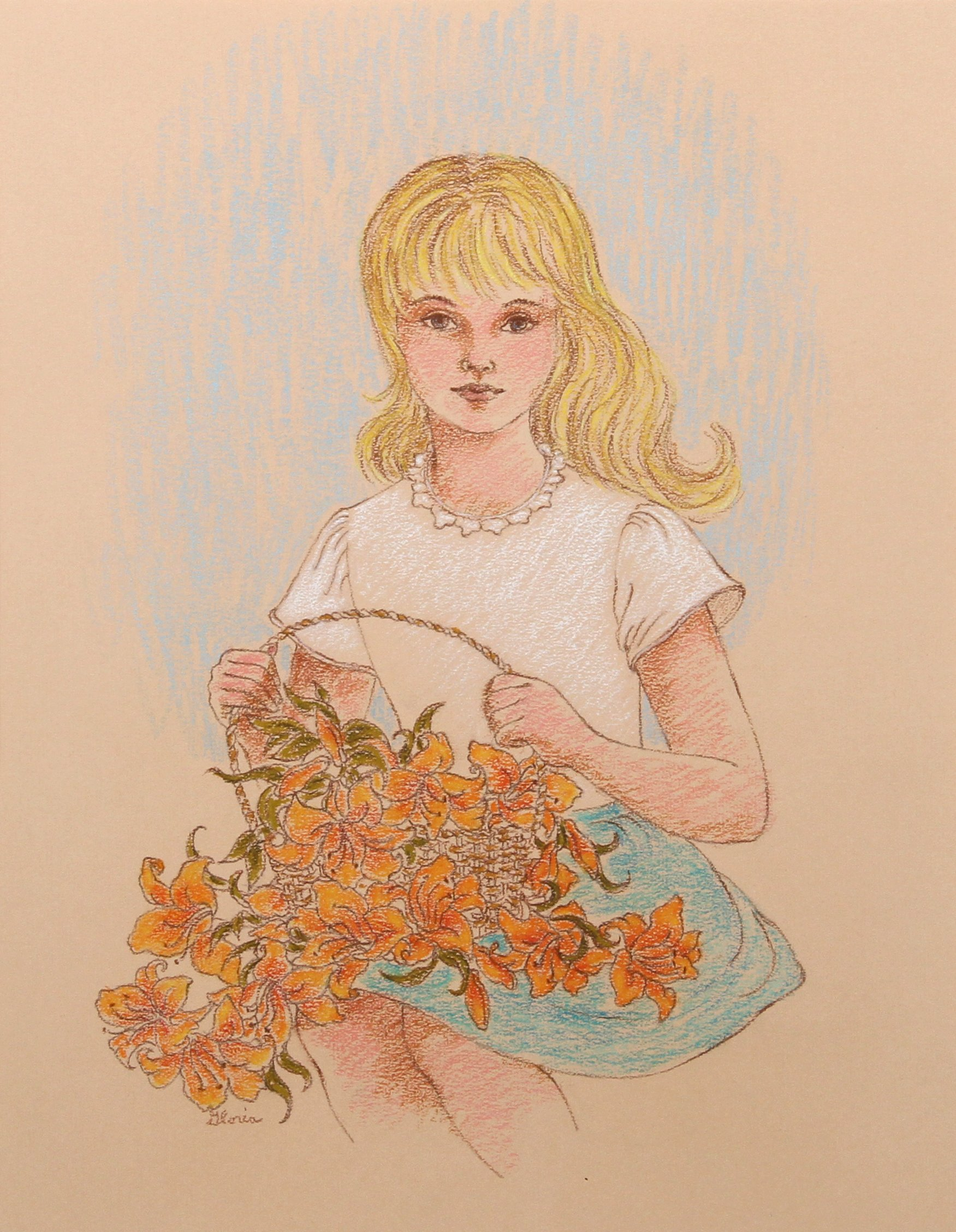 Blonde Girl with Tiger Lilies