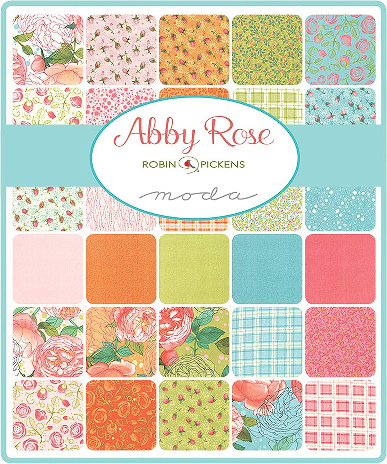Abby Rose Mini Charm Pack by Robin Pickens; 42-2.5 Inch Precut Fabric Quilt Squares