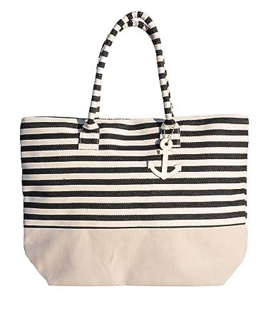fd39283a437b Amazon.com: Reusable BLACK Large Grocery Beach Tote Bag Stocking ...
