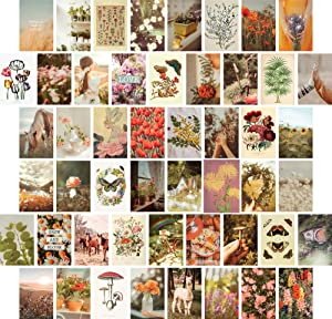Artivo Wall Collage Kit Aesthetic Pictures, Cottagecore Wall Collage Kit, Bedroom Decor for Teen Girls, Nature Boho Collage Kit for Wall Aesthetic Posters, 50 Set 4x6 inch, Photo Collection