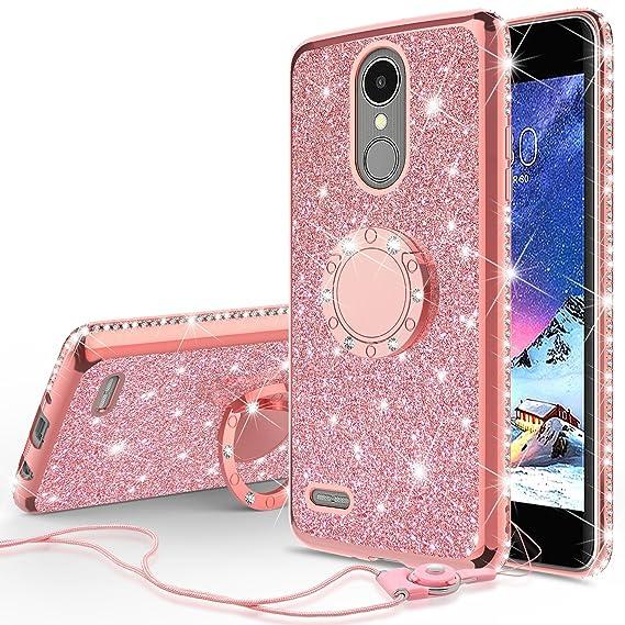 SOGA Cover Compatible for LG Aristo 2 Plus/LG Aristo/LG Rebel 3/Phoenix  3/LG Fortune Case, Cute Girl Shinny Rhinestone Bumper Sparkling Glitter  Case