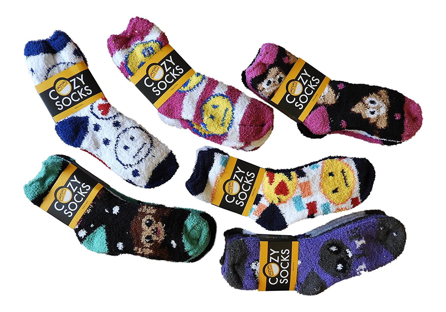 (6 Pair) Emoji Premium Fluffy COZY Super Soft Fuzzy Slipper Socks