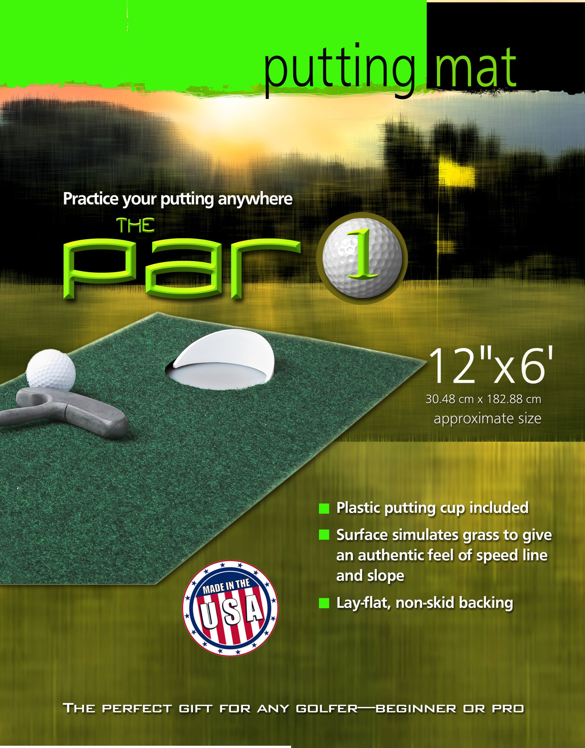 Putt-A-Bout The Par 1 Putting Mat, Green, 12-Inch x 6-Feet by Putt-A-Bout