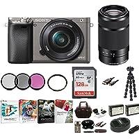 Sony Alpha a6000 Mirrorless Camera w/ 16-50mm & 55-210mm Lenses & 128GB Bundle - Graphite