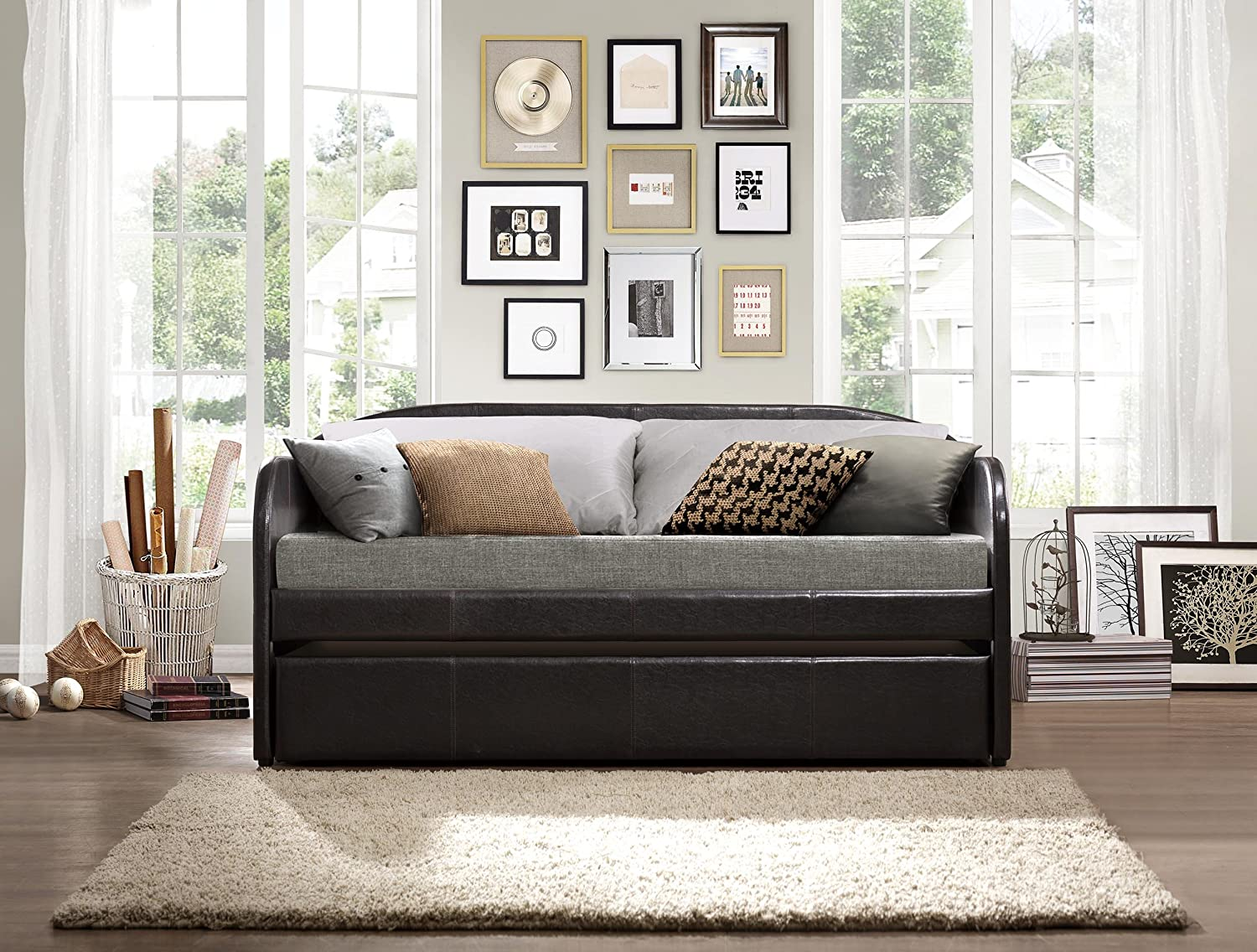 daybed with trundle. Amazon.com: Homelegance 4950 Daybed With Trundle, Dark Brown Bi-Cast Vinyl: Kitchen \u0026 Dining Trundle