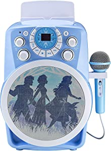 Frozen 2 Bluetooth CDG Karaoke Machine with LED Disco Party Lights, Built in Microphone for Kids, Portable Bluetooth Speaker, Avc, CDG Disks, Compatible with Samsung Apple Tablets MP3 & TV