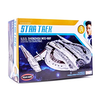 Polar Lights Star Trek Discovery USS Shenzhou - 1/2500 Scale Snap Assembly Plastic Model Kit - Buildable Vintage Spacheship for Kids and Adults: Toys & Games