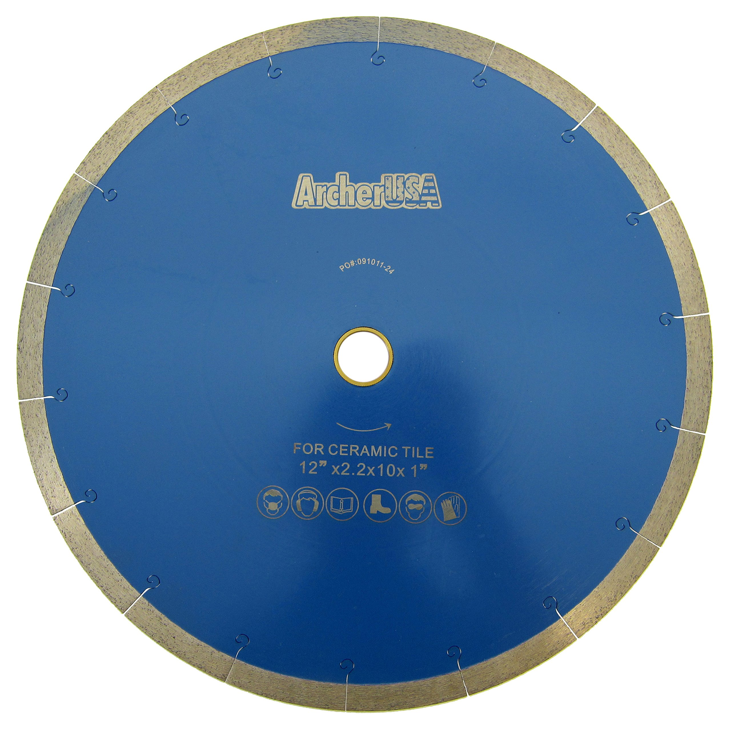 Tile Cutting Continuous Rim Diamond Blade with J-Slot 12 in. by Archer USA by Archer USA / Dexpan USA