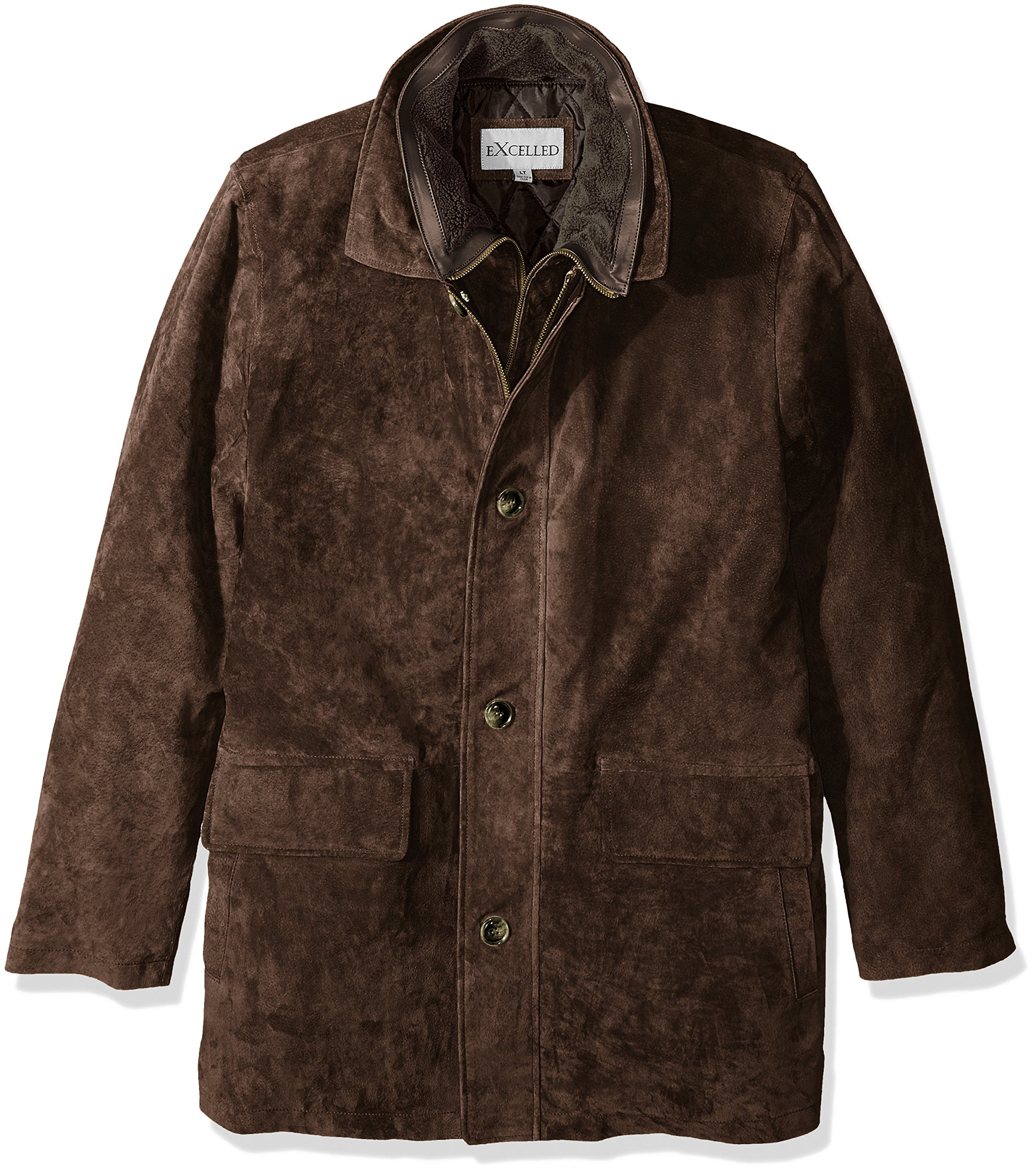 Excelled Men's Big and Tall Suede Feel Jacket, Brown, 4XL