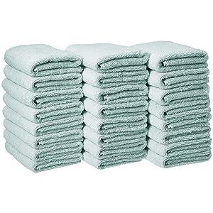 AmazonBasics Cotton Hand Towel - 24-Pack, Ice Blue