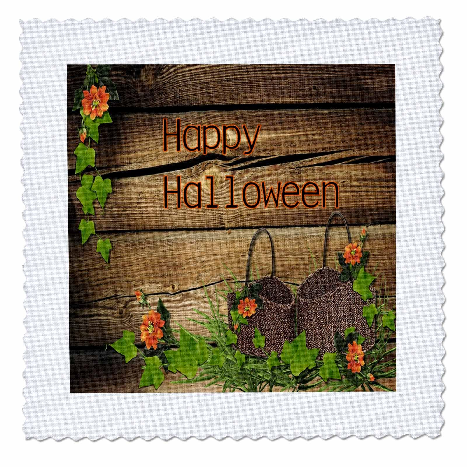 3dRose Halloween - Image of Happy Halloween On Country Wood With Baskets - 18x18 inch quilt square (qs_262499_7)
