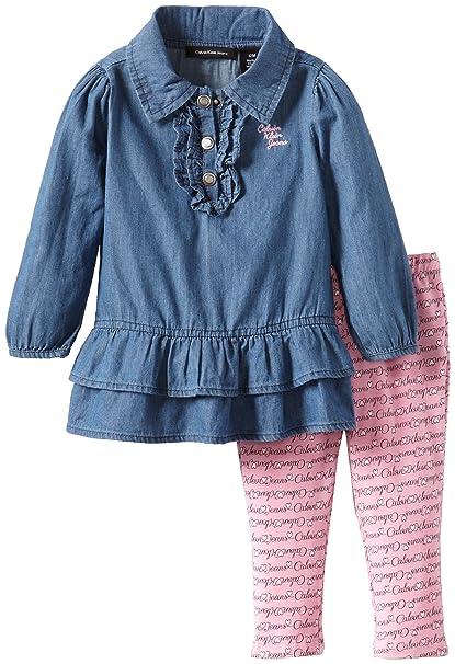 7ed944e9cd Amazon.com  Calvin Klein Baby Girls  Denim Tunic With Pink Leggings ...