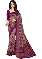 GiniGold Women's Crepe Silk Printed Saree with Blouse Piece - N-187_Purple and Beige_Free Size