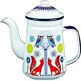 Folklore Enamel White Coffee Pot, Day Design (33 Ounces)