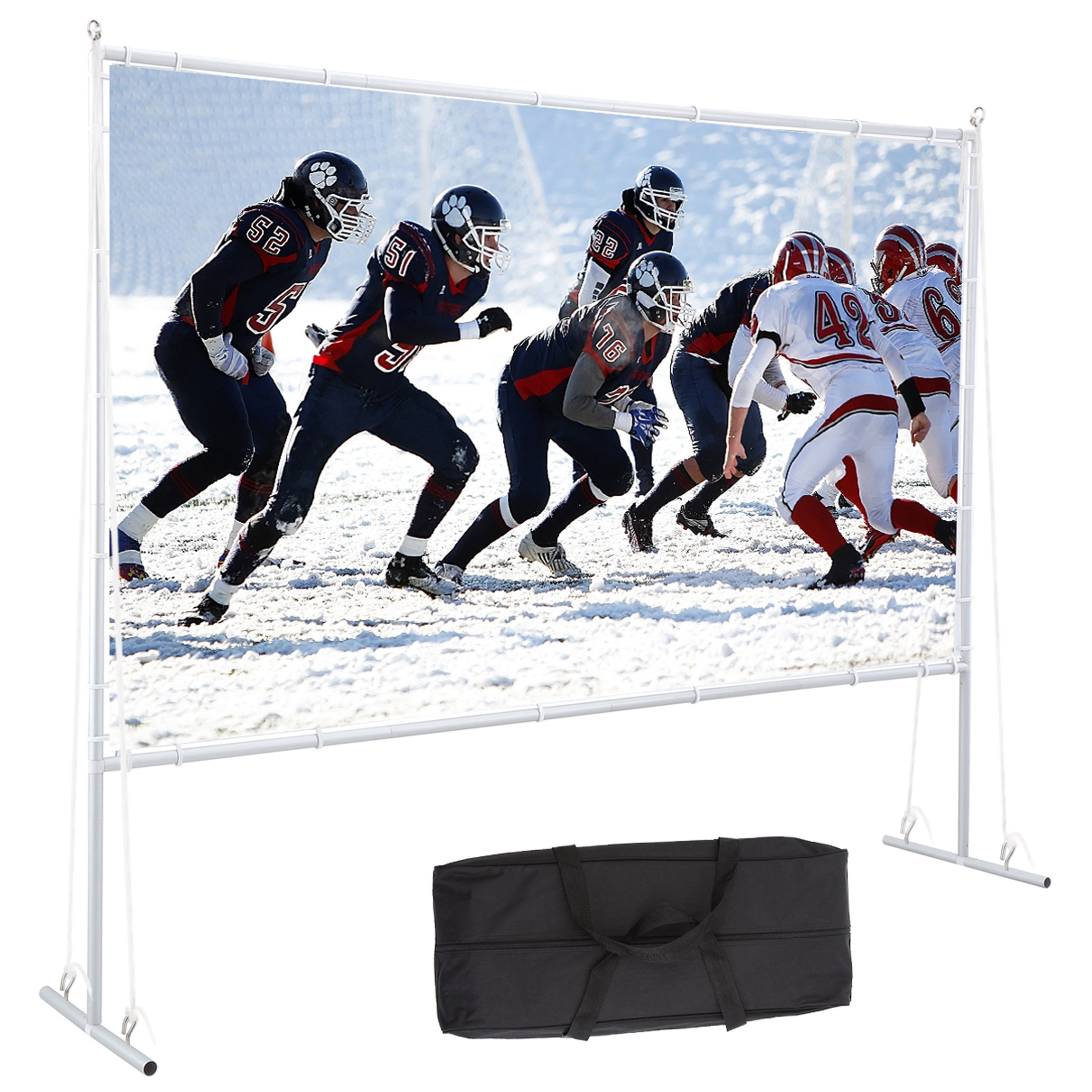 Varmax Outdoor Projector Screen with Stand 120 inch 16:9, Home Movie Screen  with Foldable PVC Fabric and Transportable Full Set Bag for Backyard