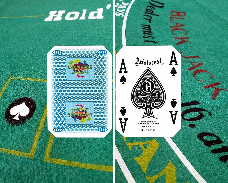 ブラックジャックとテキサスホールデムポーカーの幅広いセレクション 両面プレミアムフェルトレイアウト90cm x 180cm 本物のラスベガスカジノテーブルゲームカードデッキ付き B07NQ7FDVV Margaritaville (Blue)