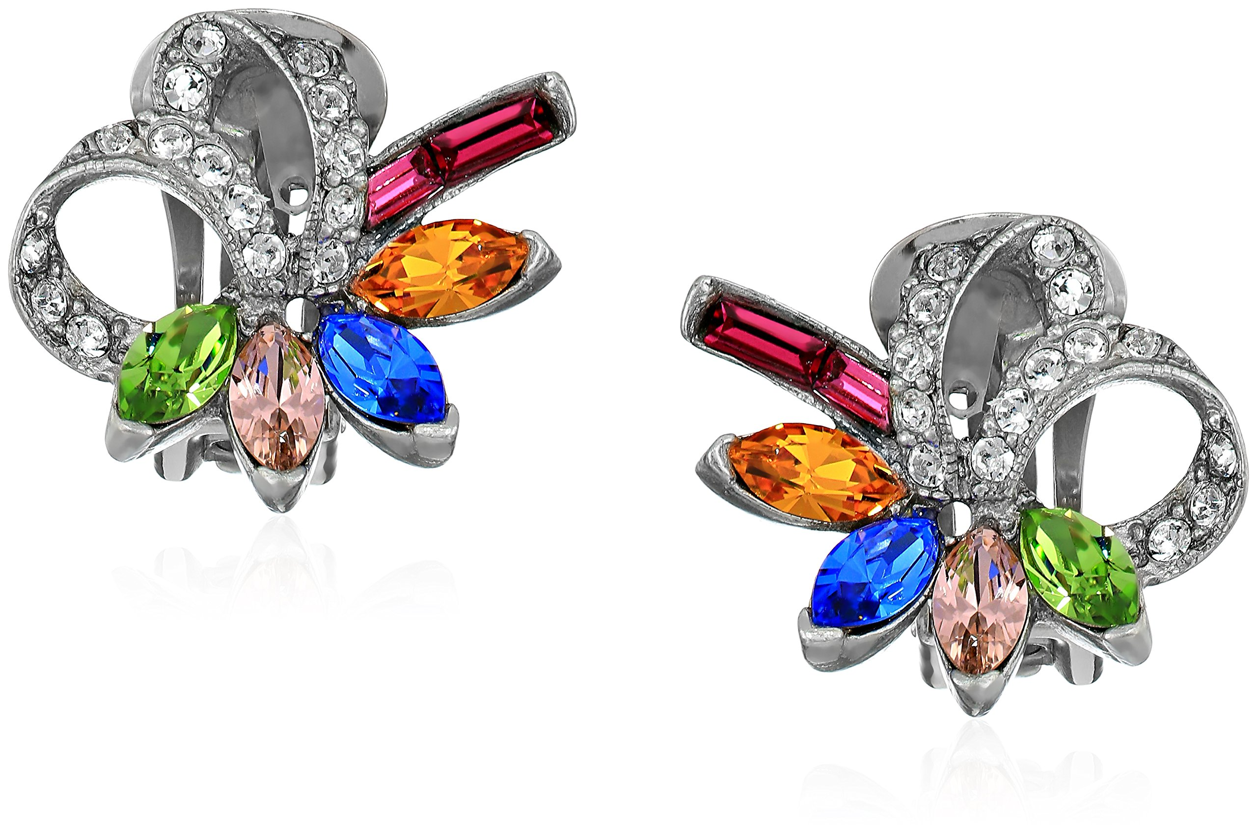 Ben-Amun Jewelry Crystal Collage Swarovski Bridal Wedding Multi-Color Clip Earrings, 1'' Length, 1'' Width