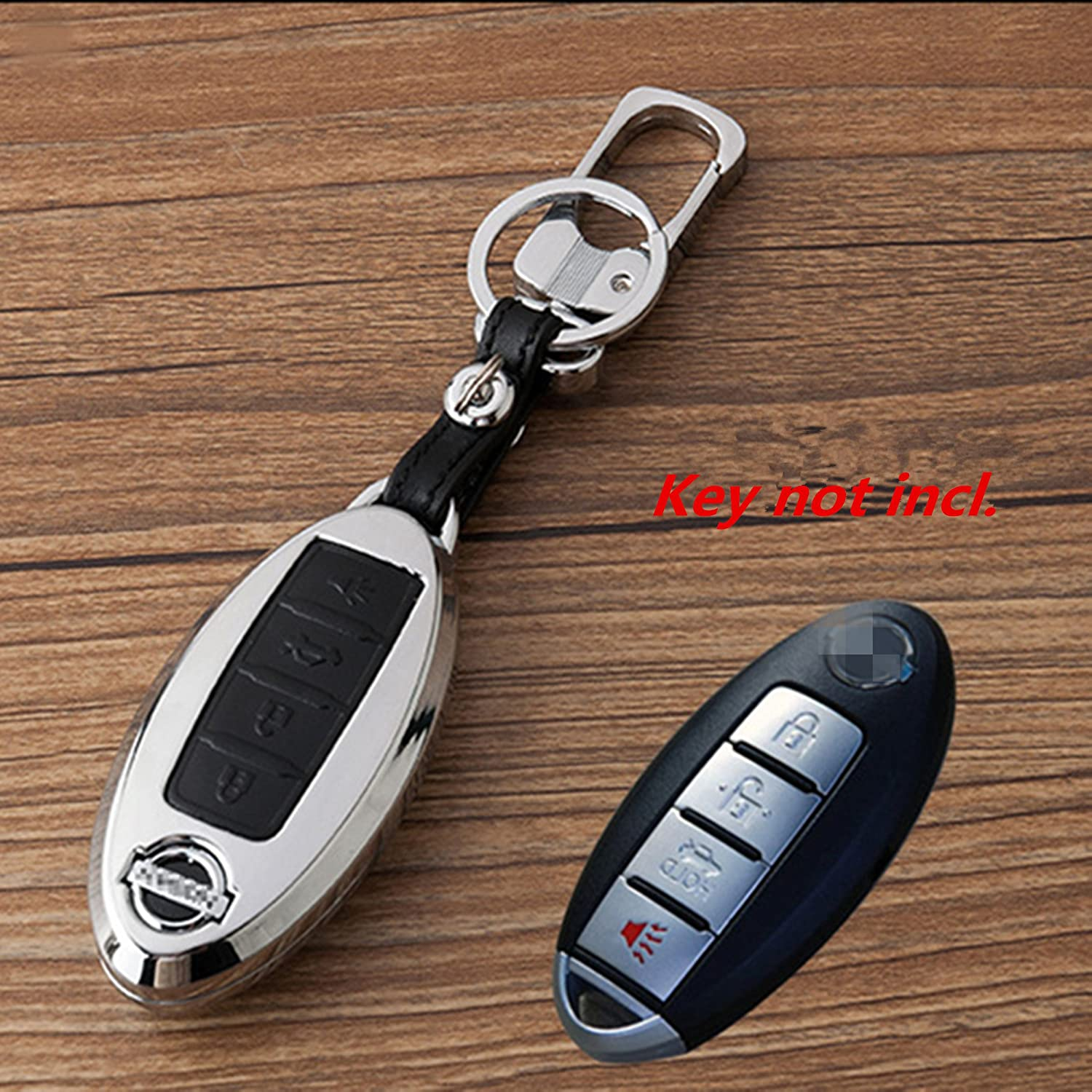 WFMJ Black Zinc Alloy 4 Buttons Leather Remote Key Cover Holder Fob for Nissan GT-R Armada 370Z Altima Cube Juke Maxima Murano Pathfinder Quest Rogue Sentra Versa