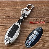 WFMJ - Funda de cuero para control remoto de coche, 4 botones, aleación de zinc, color negro