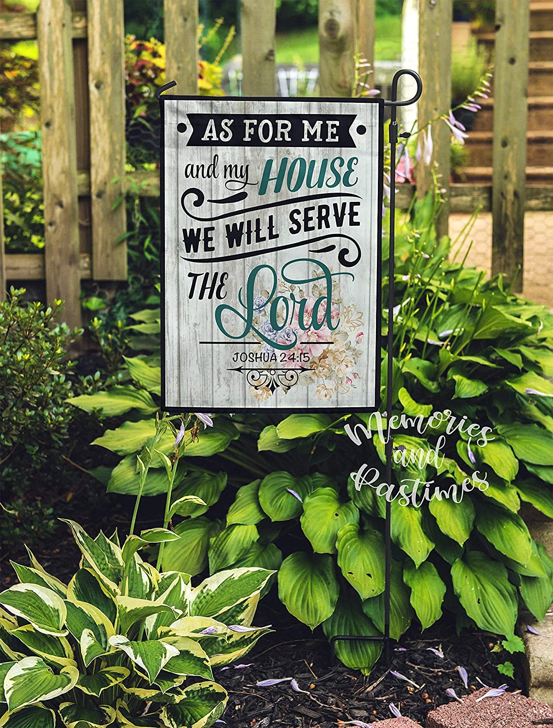 Lplpol Christian Garden Flag Housewarming Gift for Gardener, New Home Gift for Hostess, Garden Decor, As for Me and My House We Will Serve The Lord 12x18 inches