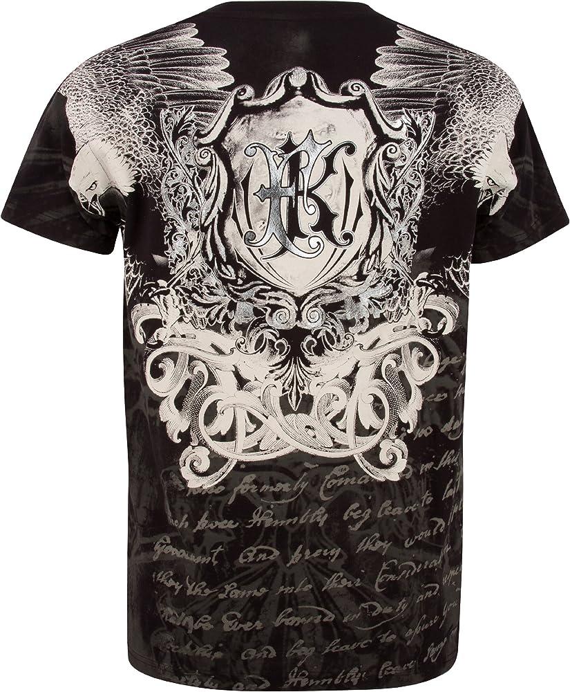 Sakkas - Camiseta de manga corta con cuello redondo de algodón, color plateado metálico Negro Negro (S: Amazon.es: Ropa y accesorios