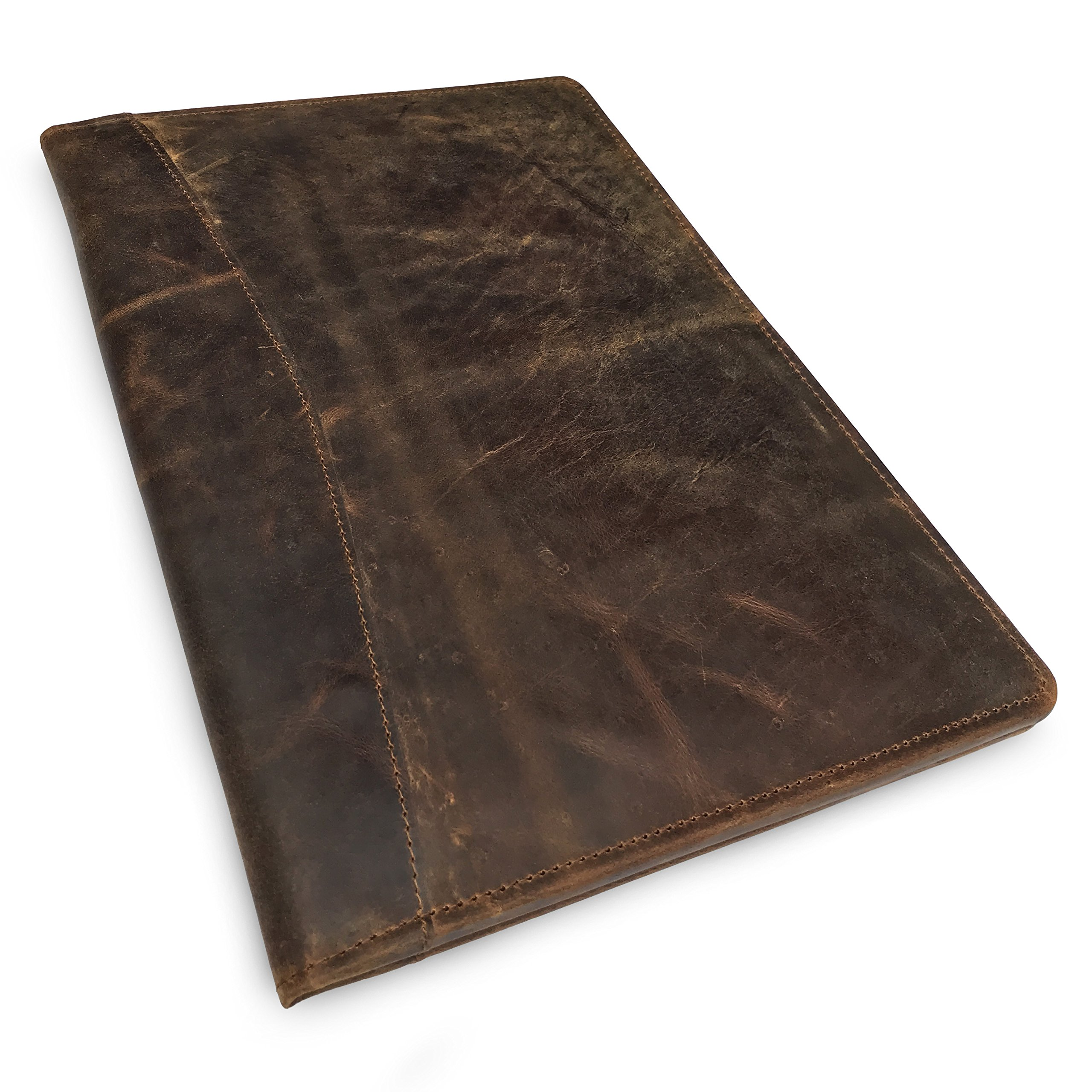 Leather Portfolio Professional Resume Padfolio - Document Folder & Organizer Folio for Letter-Size & A4 Writing Pad with Business Card Holder, Ideal Gift Portfolios for Men + Women (Dark Brown)