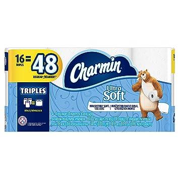 Charmin Ultra Soft Toilet Paper 16 Triple Rolls Equal To 48 Regular