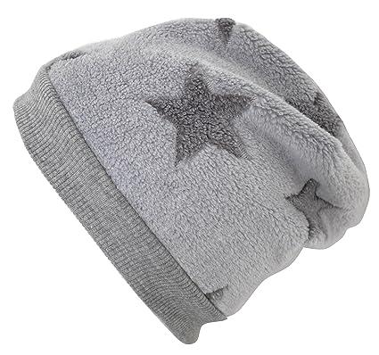 für Jungen und Mädchen 20171227 Wollhuhn ÖKO Warme Beanie-Mütze Big Stars grau/Mint MIT Fleecefutter