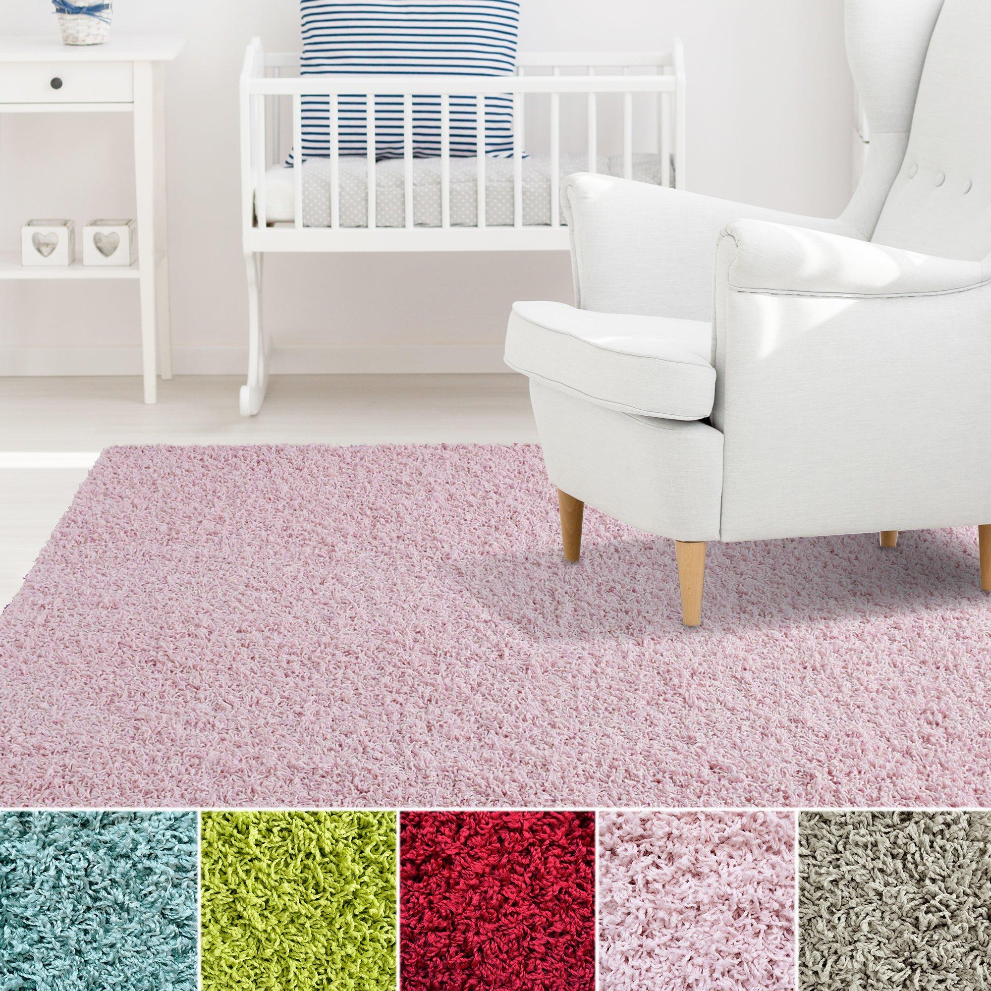 iCustomRug Affordable Shaggy Rug Dixie Cozy & Soft Kids Shag Area Rug Solid Color Pink, For Children's Play Area, Bedroom or Nursery Carpet 9 Feet x 11 Feet (9'x11')