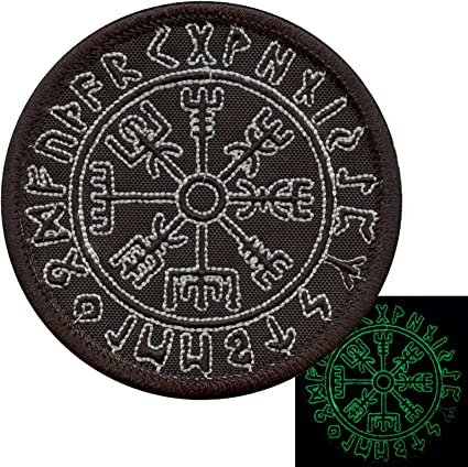 2AFTER1 Glow Dark Vegvisir Viking Compass Norse Rune Morale Tactical Touch Fastener Patch