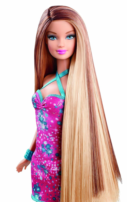 Barbie Hairtastic Pink Dress Long Brunette Hair Doll
