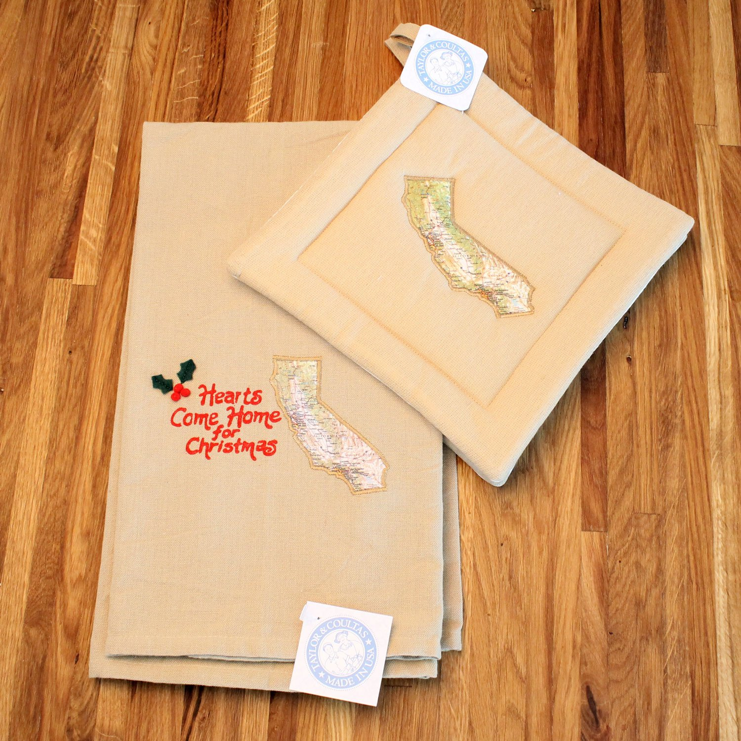 Custom Holiday Christmas Kitchen Towel and Potholder Gift Set (California) by Taylor & Coultas
