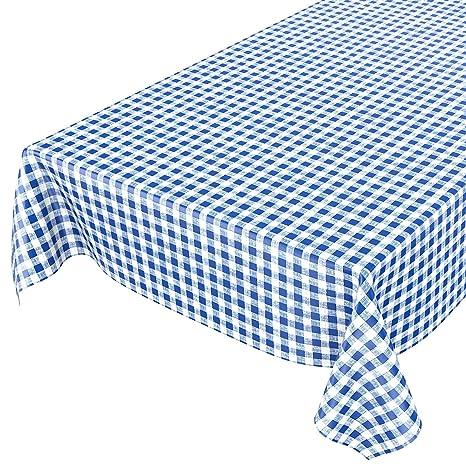 ANRO Hule mesa mantel de hule lavable clásico cuadros en azul redondo 100 cm, toalla
