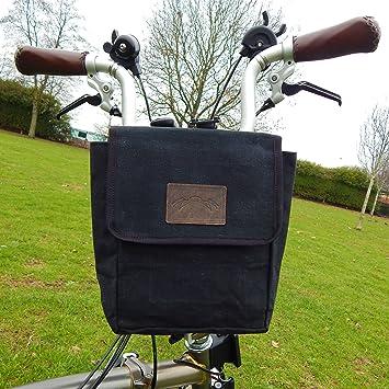 Negro bolsa de lona + de piel sillín/manillar tamaño grande para Brompton Bicicleta