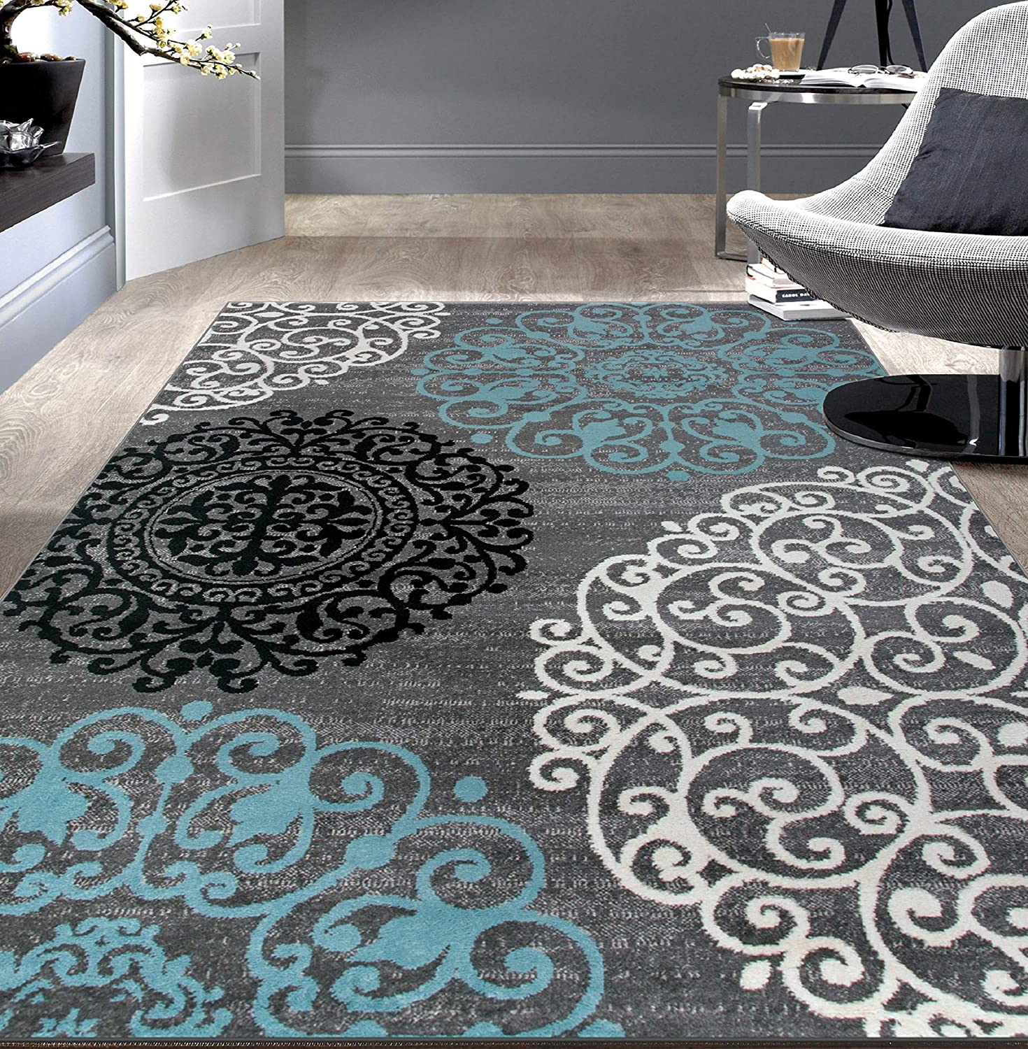 Rugshop Contemporary Modern Floral Area Rug 6'6