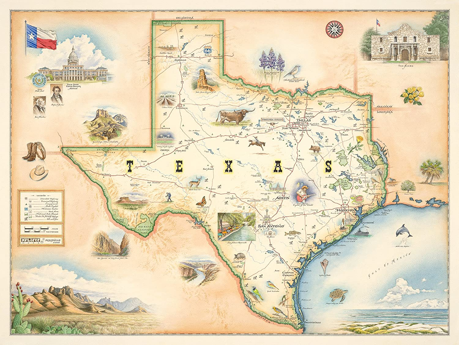 Texas State Map Wall Art Poster - Authentic Hand Drawn Maps in Old World, Antique Style - Art Deco - Lithographic Print