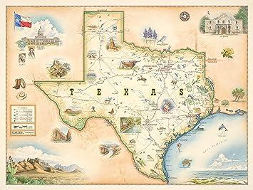 Amazon.com: Xplorer Maps Texas State Map - Hand-Drawn Map Art by ...
