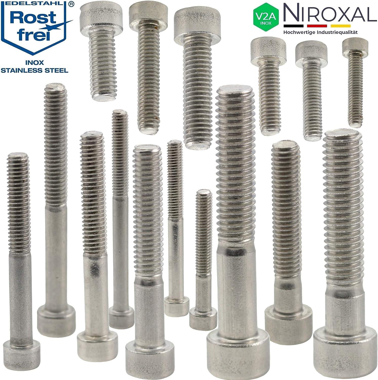 Edelstahl Zylinder-Schraube rostfrei V2A M8-mm stark 20-mm Schrauben-L/änge 100 St/ück 80-mm Teil-Gewinde Innensechskant M8x20