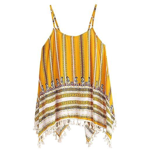 edb7ac112def Women s Summer 2018 Tassel Boho Floral Yellow Strap Tank Tops Comfort Crop  Top