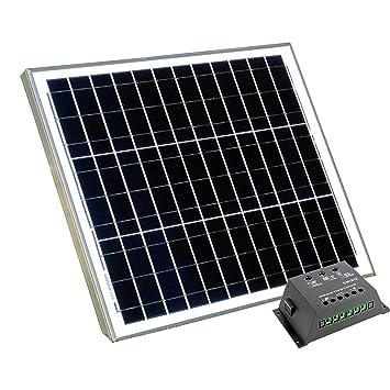 Panel solar de 40 W con controlador de carga de 10 A, para batería de 12 V, camping, caravana, barco, cobertizo, de PK Green: Amazon.es: Hogar