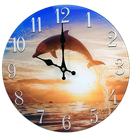 "13"" Glass Dolphin Sunset Clock"