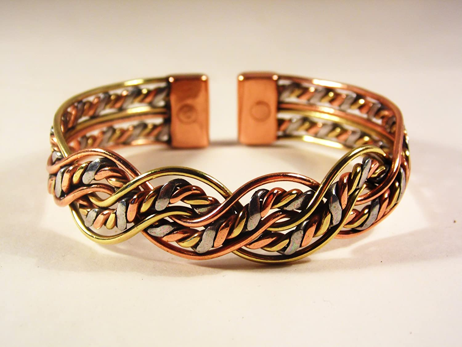 Magnetic Three Colour Twist Bracelet with Etched-0n Lines design Copper Magnetic Ring Combi Set (MEDIUM RING SIZE: 19 - 21mm) 80Ca3VgM