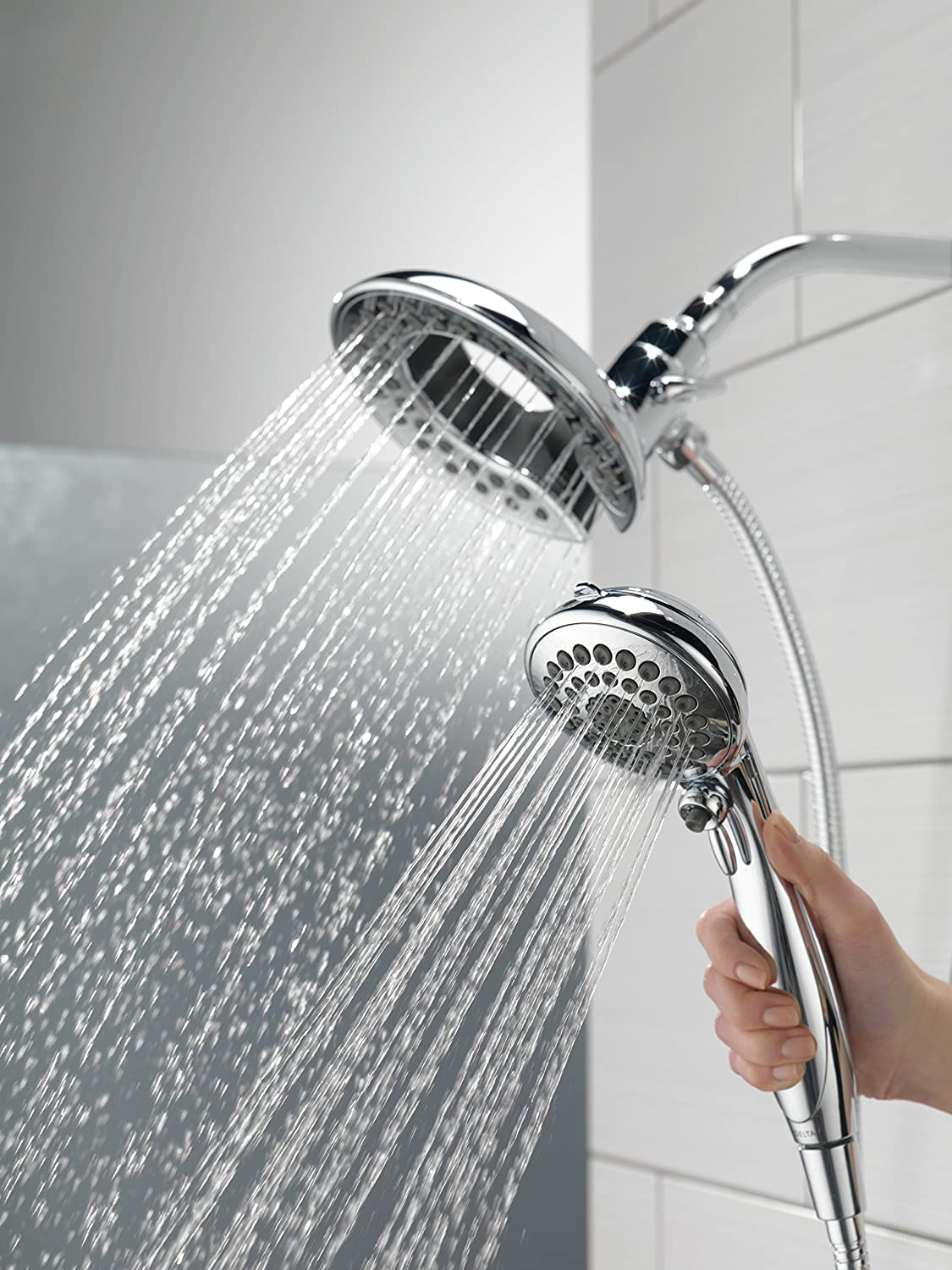 Delta 58469-PK 5-Spray In2ition 2-in-1 Hand Held Shower Head with ...