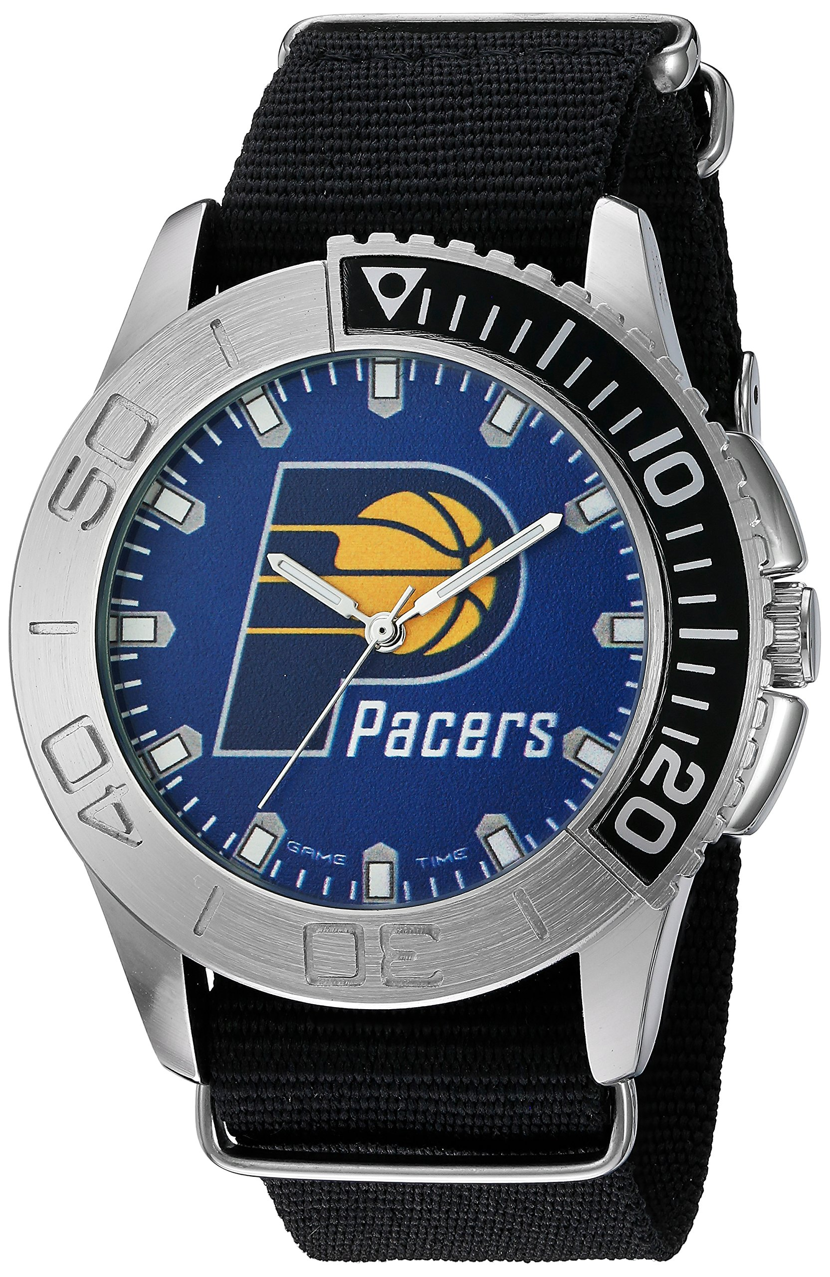 Game Time Men's 'Starter'  Metal and Nylon Quartz Analog Watch, Color:Black (Model: NBA-STA-IND) by Game Time