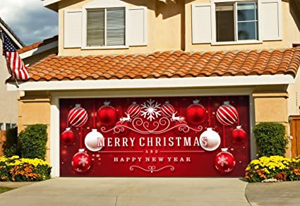 Christmas Red And White Ornaments On Red Holiday Garage Door Décor ...